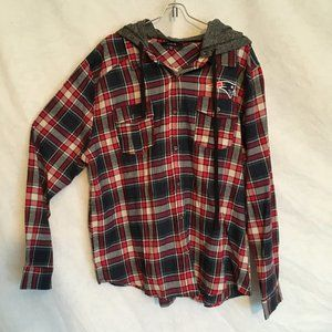 Red Plaid Active USA Patriots Patch Flannel w/Hood